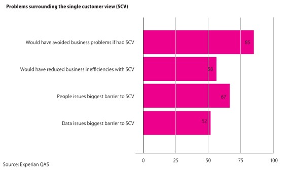 graph of single customer view issues - Experian QAS
