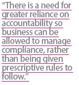 manage compliance rather than prescriptive rules