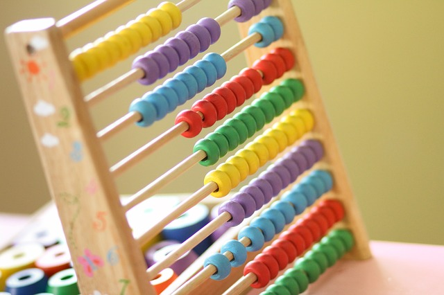 Abacus with yellow, purple, blue, red and green beads
