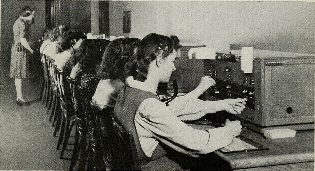 Women working at telephone exchange