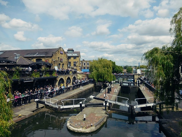 Camden lock canal and barges, London