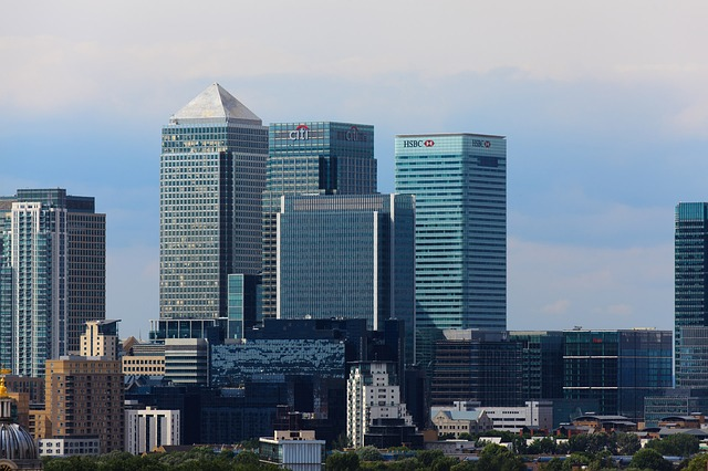 Financial centre Canary Wharf in daylight