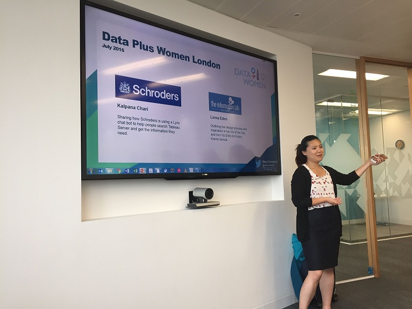 Emily Chen presenting Data Plus Women London