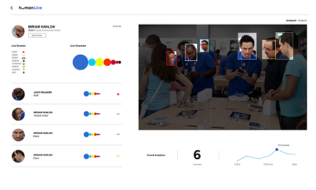 Screen shot of Human IO facial emotion detection software