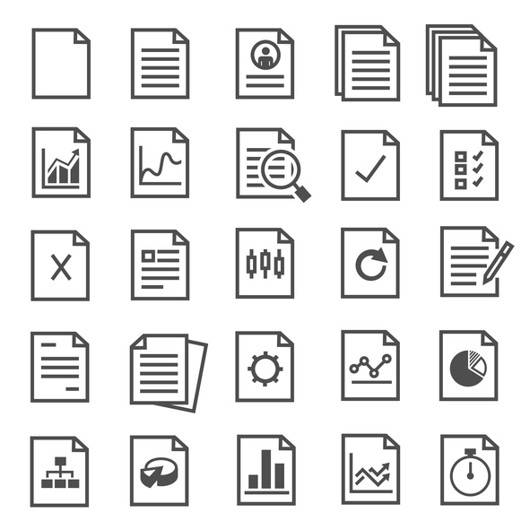 grid of several file icons including graphs, search and pie charts