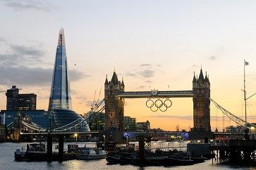 Tower Bridge with Olympic rings and the Shard in London