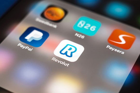 mobile and digital banking paypal revolut and paysera