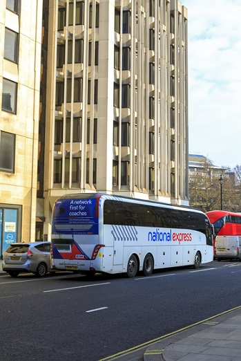 National Express coach in city