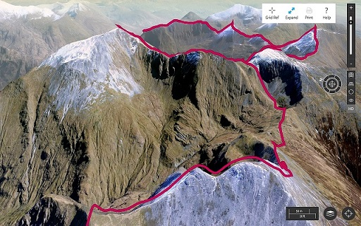 Ordnance Survey 3D map mountain peaks