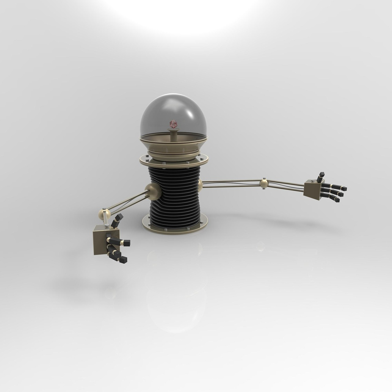 Robot with long arms and light bulb head