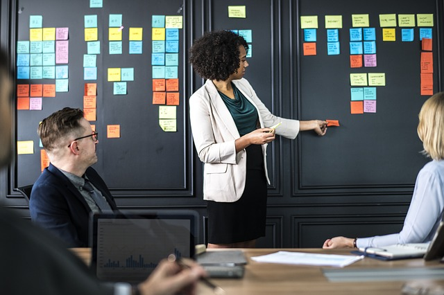 Woman leading team meeting with scrum of post-its